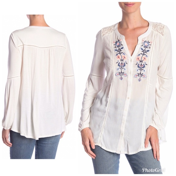 fb839bbe996179 Vintage America Blues Mariana Embroidered Top